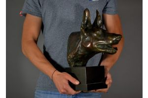 Rare bronze Max Le Verrier german shepherd sculpture