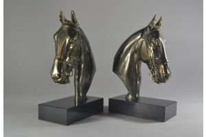 Art deco bookends with horses