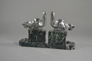 H. Moreau art deco bookends pair with cats