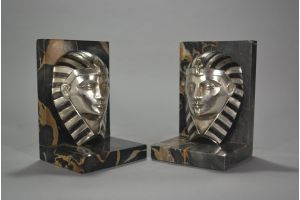 C.Charles egyptian revival bronze bookends