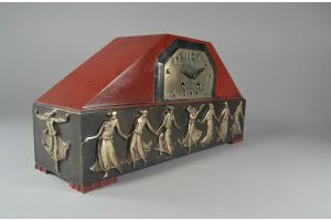 Art deco silver plated and lacquered bronze clock with dancer farandole