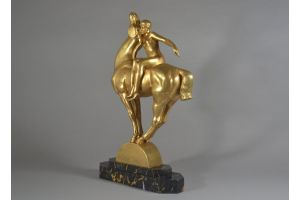 Clemencin tall art deco sculpture. Lady with horse.