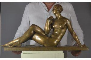 Joe Descomps. Cormier large art deco bronze lady