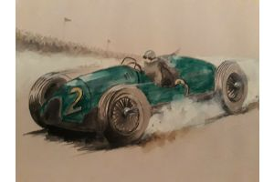 Art deco era race cars : A set of 6 drawings