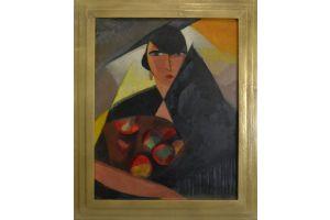 Paul Colin (1892-1985). Cubist Portrait of Norka Rouskava dancer. Oil on board