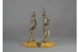 bronze bookends pair. Pierrot And Columbine