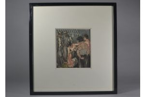 Leon COURBOULEIX.  Set of 5 etchings. Brothel scenes.