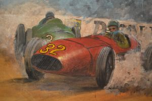 large oil painting on canvas.  race cars. Signed.