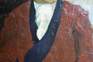 Roger CRUSAT. Oil on canvas. Man with red dressing gown