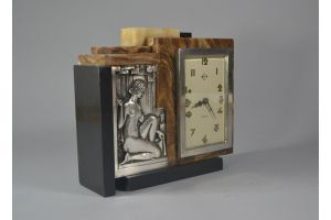 Cubist art deco silver plated bronze and marble clock
