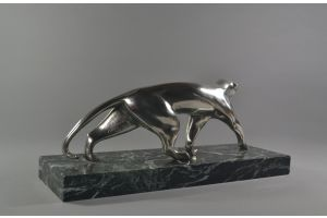 M. Decoux. Large art deco bronze silver plated panther
