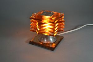 DESNY modernist glass and metal lamp