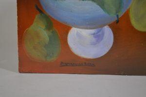 Diamantino Riera (1912-1961) Still life oil on cardboard