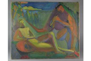 Elisabeth Ronget. Cubist couple. Oil on canvas.
