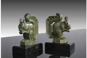 Hard to find art deco Max Le Verrier squirrels bookends