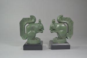 M. Le Verrier squirrels art deco bookends