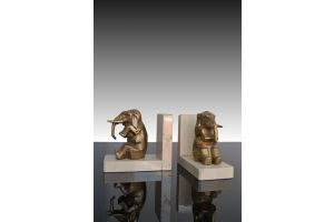 Cubist elephants bookends pair