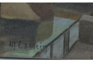 Maurice Esmein, Oil on canvas, 1915 Cubist Port view