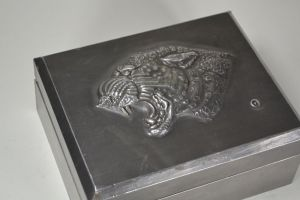 Art deco pewter box with panther. Signed.
