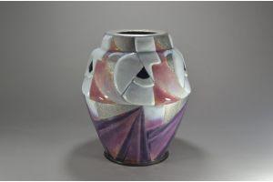 Camille Faure Limoges large enamel on metal cubist pattern vase