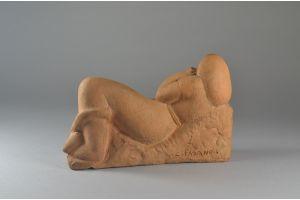 Clara Fasano (exh. Metropolitan Museum) sculpture. Reclining girl