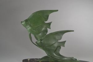 M.Font. Art deco sculpture with fishes