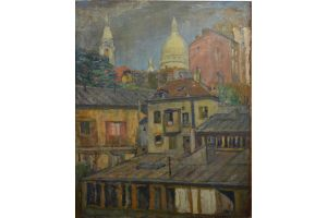 Emile Fouquet Paris Sacre Coeur large oil on canvas