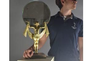 Fanny Rozet bronze egyptian dancer figural mirror. 61cm !