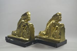 Frecourt. Rare large bookends with natives