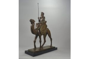 Georges Garreau. Stunning 82cm art deco touareg on camel bronze sculpture