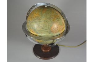 Rare art deco glass lighting globe on double fixture. (FOREST)