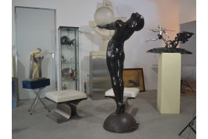 Iconic and ultimate Max Le Verrier 'Clarté' a Life-sized bronze Metal Figural Lamp