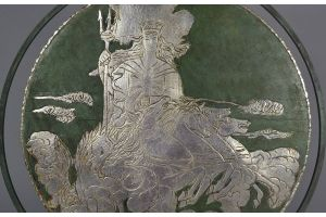 Tall dinanderie gong by LOYS Paris. Poseidon with horses.
