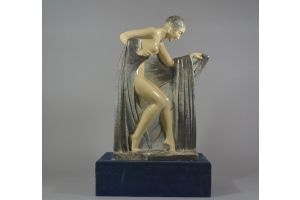 Genevieve GRANGER impressive 68cm crackle ceramic. Art Deco dancer