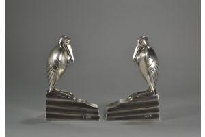 Art deco bronze Ibis birds bookends. Signed.