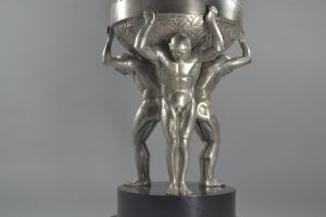 Guiraud Riviere. Bronze art deco center piece sculpture 3 men