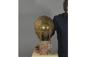 G.Garreau, impressive large size native american bronze head
