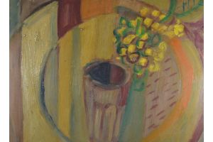 Nicolas ISSAIEV. Cubist still life. Oil on board. Flowers in a glass.