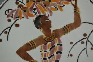 Jazz age. Josephine Baker ceramic plate. GEO CONDE.