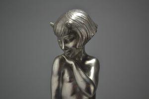 Pierre Le Faguays / Laurel, rare bronze figure of a faun girl.