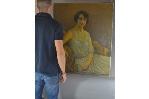 Robert Leblond, large art deco portrait oil on canvas