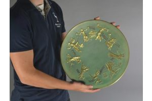 Rare and large bronze plate. Signed Pierre Le Faguays. Greek muses
