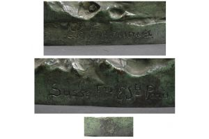 Extraordinary 116cm Pierre Le Faguays bronze Diana. Susse edition. 1930