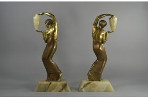 Rare P. Le Faguays bronze pair. Water carriers.