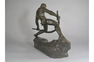 Man bending a bow. Pierre Le Faguays. Bronze sculpture