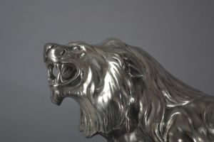 Impressive silver plated bronze Lion. De Marco edition.  Circa 1930