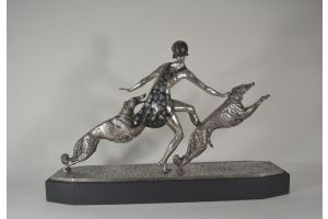 J. Lormier art deco large bronze Lady with greyhounds