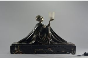 Rare Jean Lormier bronze figural lamp. Art deco lady.