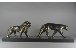 Lion and panther art deco group