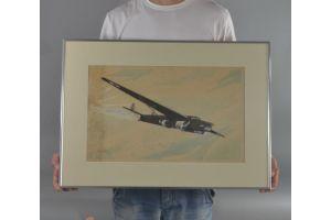 #2 Louis Petit water color with FARMAN 223 plane